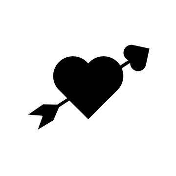 Lovestruck sign. Arrow through heart flat vector icon for apps and websites, relationship concept. Black heart arrow icon on white background. Love symbol, vector illustration EPS 10.