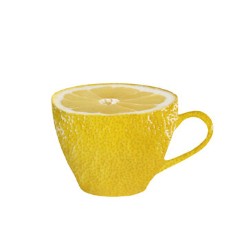 cup with lemon texture on white background