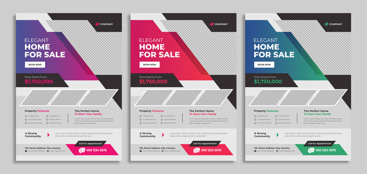 Professional real estate flyer template design for housing or property business agency. Home sale advertisement poster with logo & icon. Corporate graphic web banner & cover for digital marketing.