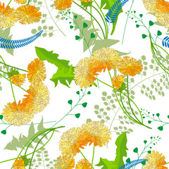 Yellow dandelions and grass on a white background.