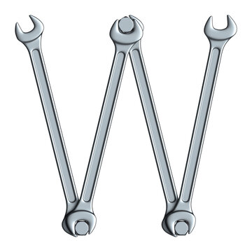 Letter W made of steel wrenches and bolts isolated on white, 3d rendering