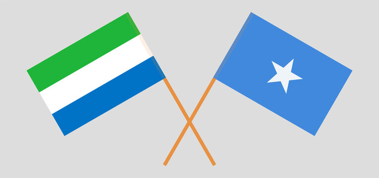 Crossed flags of Sierra Leone and Somalia. Official colors. Correct proportion