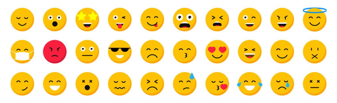Set of cartoon emoticons. Collection emoji icons. Social media emoticon smile. Yellow faces expressing emotion. Vector illustration.