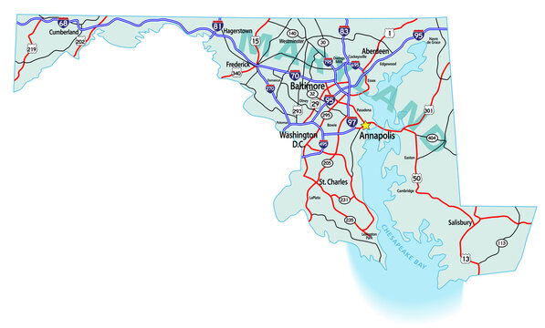 Vector map of the state of Maryland and its Interstate System.