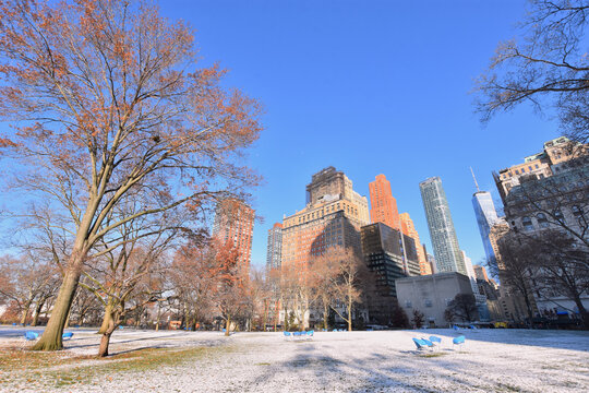 Battery Park in winter, Lower Manhattan, New York City, USA