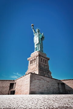 Statue of Liberty, colossal neoclassical sculpture and also known as Liberty Enlightening the World in Liberty State Park, Jersey City.