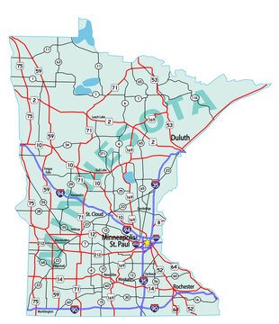Vector map of the state of Minnesota and its Interstate System.