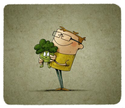child wearing glasses and smiling holds a stuffed broccoli-shaped doll in his arms that gives him peace.