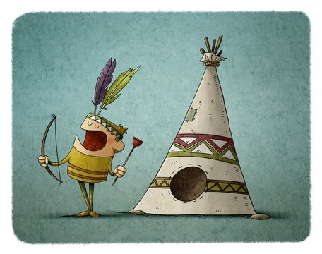 little boy with a bow and arrow dressed as an Indian is playing next to a teepee, typical house of the Indians.