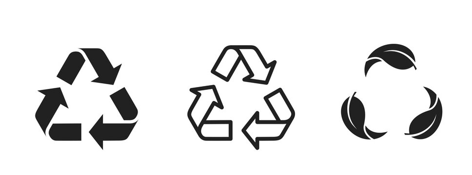 recycle icon set. ecology, eco friendly and environmental management symbols. isolated vector images