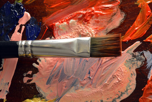 Paintbrush and palette.