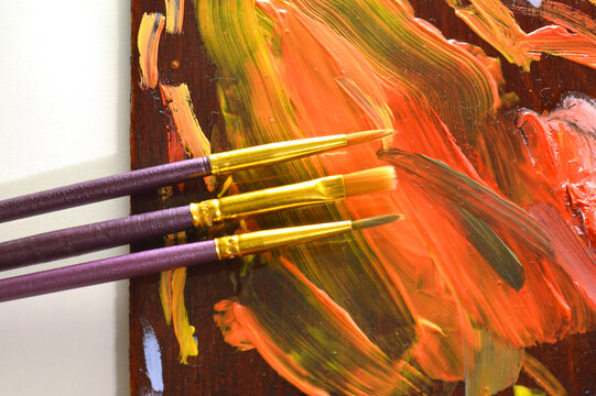 Paintbrushes and palette with paints.