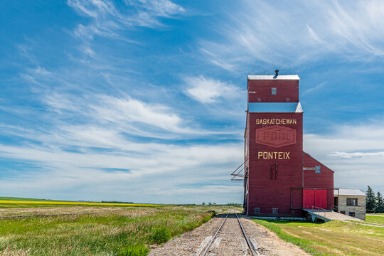 The historic Ponteix Wheat Pool grain elevator in Saskatchewan, Canada