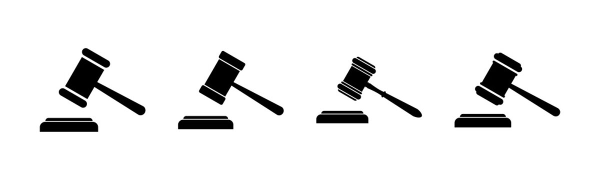 Gavel icons set. Hammer icon vector. Judge Gavel Auction Icon Vector. Bid