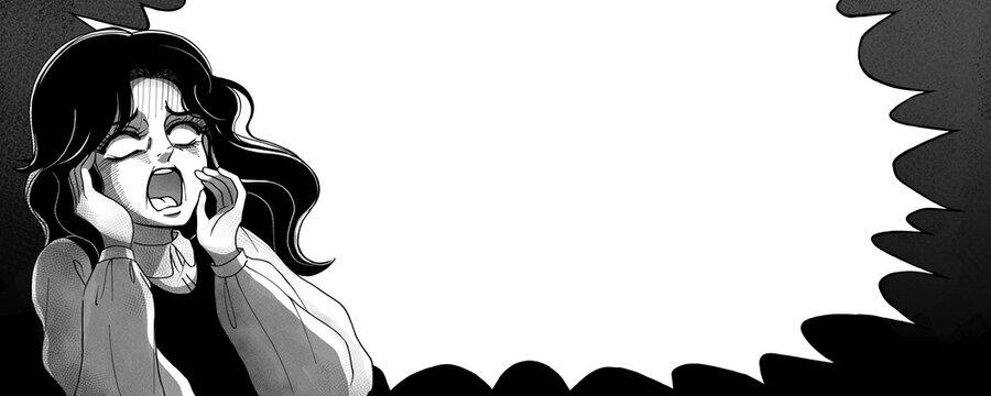 昭和のホラー漫画風・白眼の絶叫する女性・ふきだしバナー・モノクロ
