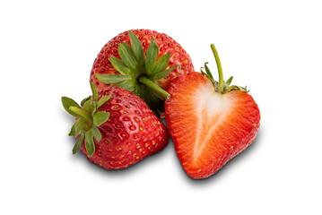 Fototapete - Ripe strawberry isolated on white background with clipping path.