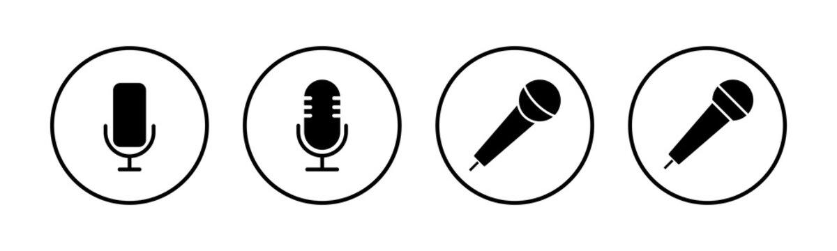 Microphone Icons set. Mic sign. Karaoke microphone icon. Broadcast mic sign