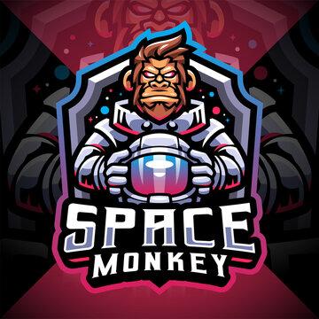 Space monkey esport mascot logo design