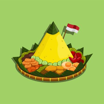 Nasi tumpeng is an Indonesian cone-shaped rice dish with side dishes of vegetables and meat originating from Javanese cuisine of Indonesia. cartoon illustration vector
