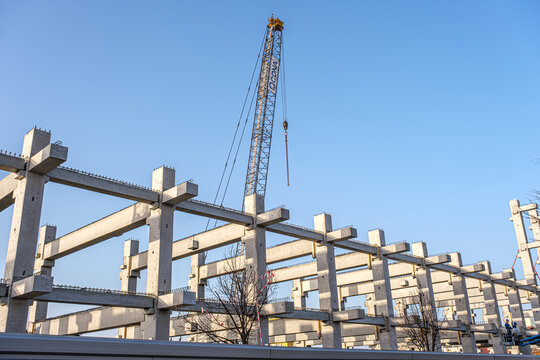 concrete beams at the municipal stadium building site, Sibiu, Romania
