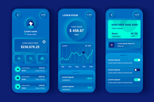 Online banking unique neumorphic design kit. Smart finance app with manage transactions and view account activities. Financial management UI, UX template set. GUI for responsive mobile application.