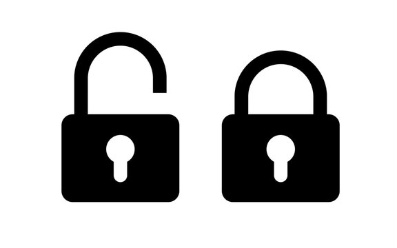 Lock unlock icon set black color isolated on white background. Protection icon vector. 10 eps