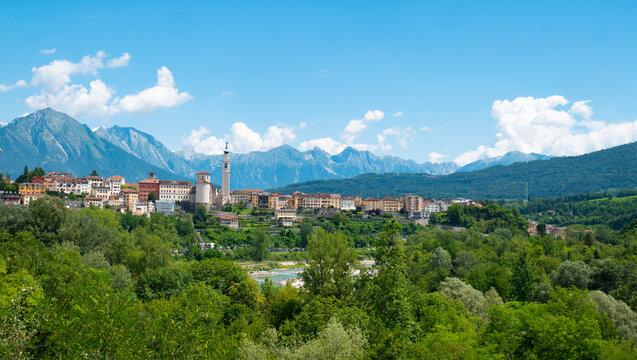 Townscape in Belluno, a city in the Dolomites