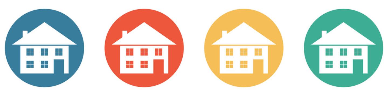 Bunter Banner mit 4 Buttons: Haus, Immobilien oder Einfamilienhaus
