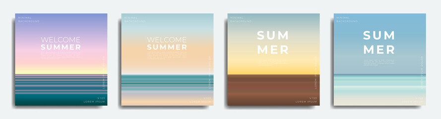 Fototapeta Abstract summer background bundle. Gradient with summer colors, beach.