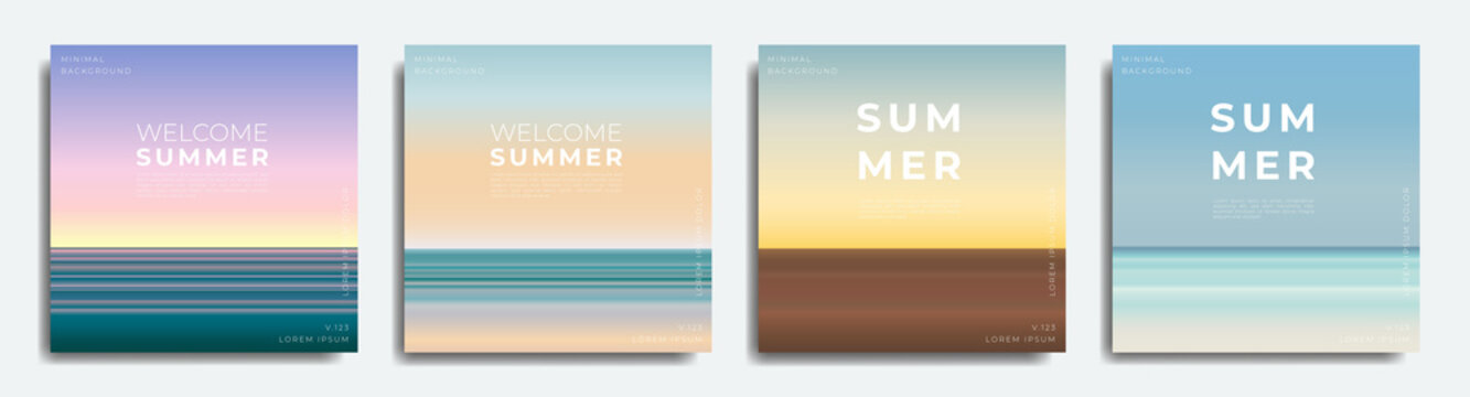 Abstract summer background bundle. Gradient with summer colors, beach.