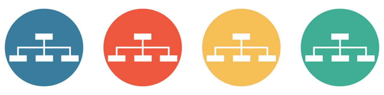Bunter Banner mit 4 Buttons: Organigram