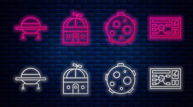 Set line Astronomical observatory, UFO abducts cow, UFO flying spaceship and Futuristic hud interface. Glowing neon icon on brick wall. Vector.