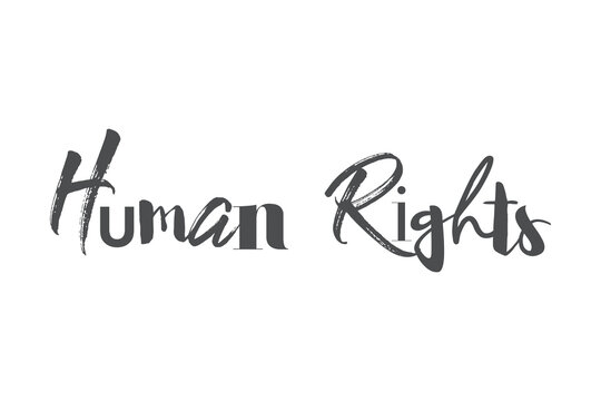 """Modern, playful, bold graphic design of a saying """"Human Rights"""" in grey color. Creative, experimental, cool and trendy typography."""