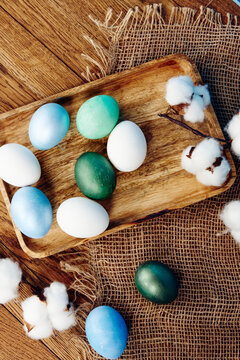 Easter eggs holiday tradition decoration top view