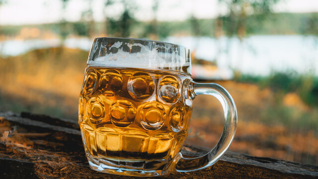 The midnight sun shines on a newly poured beer in a large pint glass with a solid handle. Beer and outdoor camping concept.