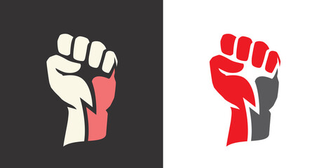 Fist clenched. Power, strength icon logo vector - fototapety na wymiar