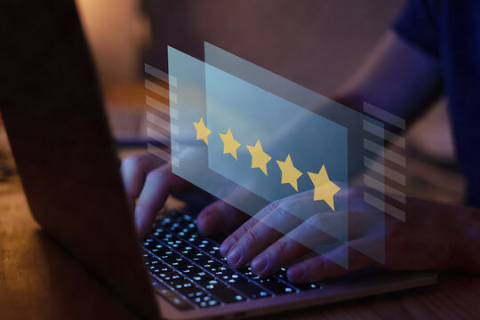 writing review on internet with 5 star rating, reputation management concept