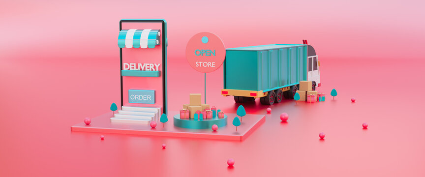 Online delivery smartphone,E-commerce service concept,online order shopping,technology gps pin tracking logistic shipping on mobile,fast transport truck to customer,3d render illustration web banner