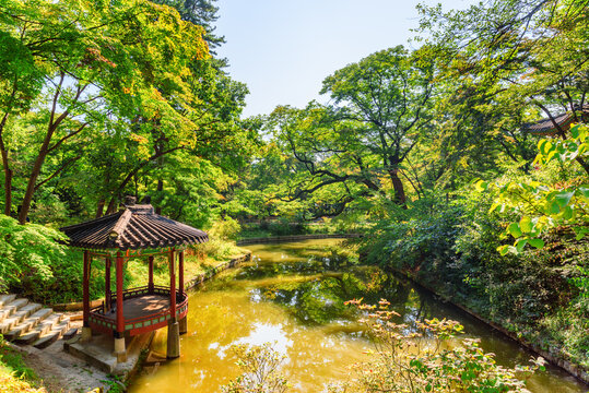 Colorful pavilion and scenic pond in Huwon Secret Garden, Seoul