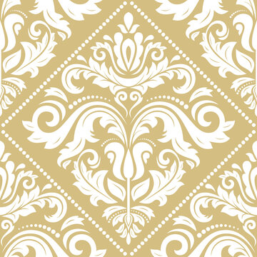 Classic seamless pattern. Damask orient golden and white ornament. Classic vintage background. Orient ornament for fabric, wallpaper and packaging