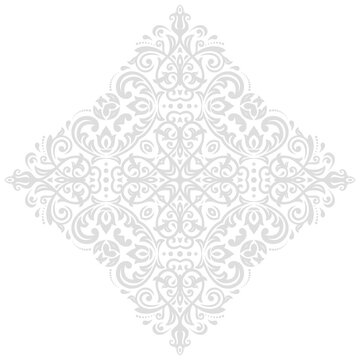 Elegant vintage ornament in classic style. Abstract traditional light silver pattern with oriental elements. Classic vintage pattern
