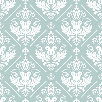 Orient classic pattern. Seamless abstract background with vintage elements. Orient background. Light blue and white ornament for wallpaper and packaging