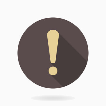 Golden exclamation flat icon in the brown circle. Flat design and long shadow
