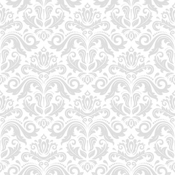 Classic seamless light pattern. Damask orient ornament. Classic vintage background. Orient ornament for fabric, wallpaper and packaging