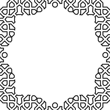 Classic square black and white frame with arabesques and orient elements. Abstract ornament with place for text. Vintage pattern