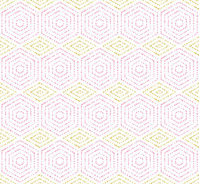 Geometric repeating ornament with hexagonal dotted pink and golden elements. Geometric modern ornament. Seamless abstract modern pattern