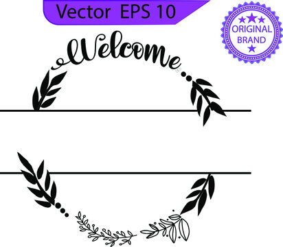 Welcome hand lettering,  EPS 10, welcome, welcome cut file, hand drawing