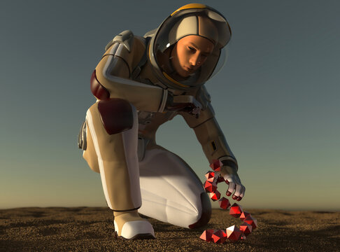 image of an astronaut and an alien artifact 3D illustration