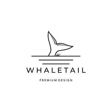 whale tail logo icon line art minimalist vector illustration design