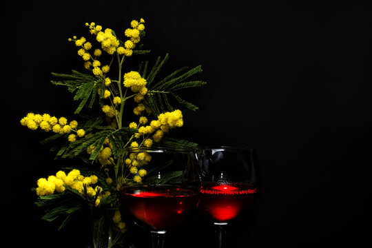 branch of mimosa and two glasses of red wine on a dark background